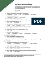 Sample Patient satisfaction Survey