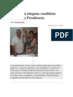 Bolivia Sin Ninguna Candidata Mujer a La Presidencia