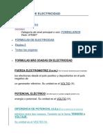 Fórmulas de Electricidad