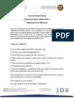 Convocatoria Departamento de Bibliotecas 2019-2