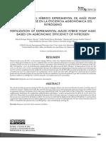FERTILIZACIÓN DEL HÍBRIDO EXPERIMENTAL DE MAÍZ INIAP H-603, CON BASE EN LA EFICIENCIA AGRONÓMICA DEL NITRÓGENO