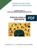 Documento de Psicología Deportiva. Nivel 2 Año 2018