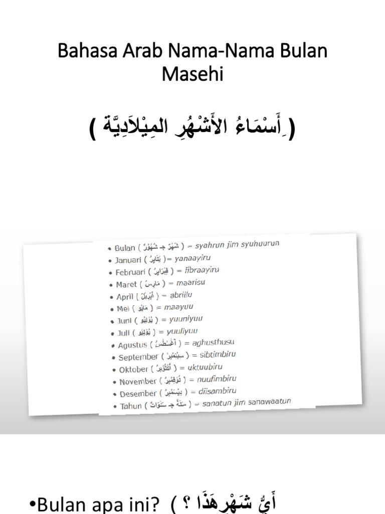 Nama Nama Bulan Masehi Dalam Bahasa Arab – Belajar