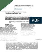 Development of Physics Laboratory Manual