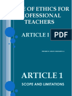 Code of Ethics for Professional Teachers Report