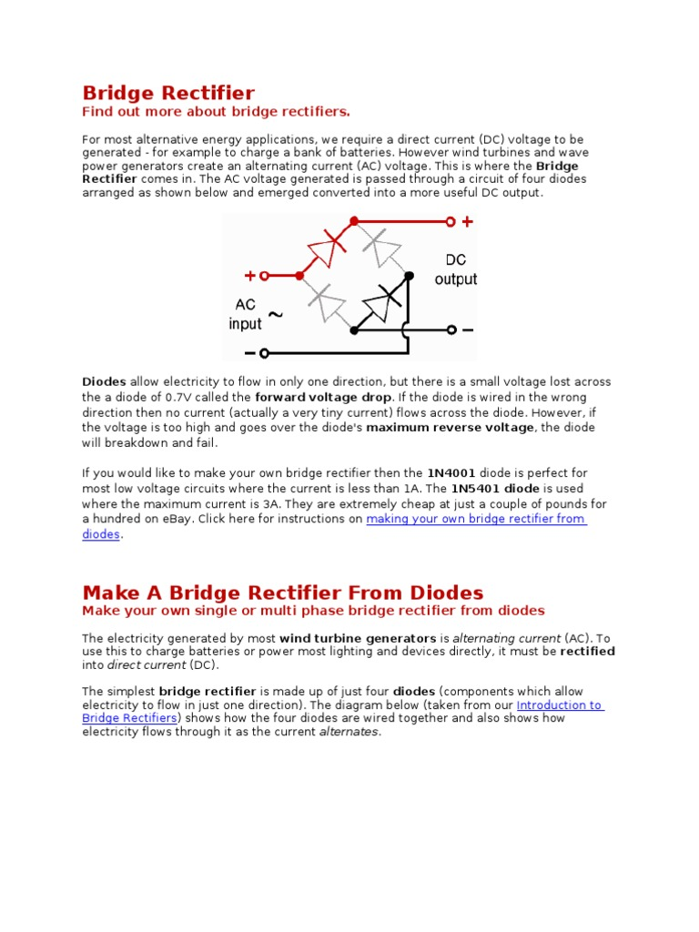 How To Build 12vdc From Bridge Rectifier Direct Current Simple Wind Battery Charger Circuit Diagram
