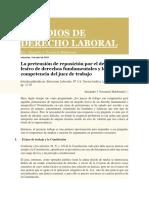 La pretensión de reposición por el despido lesivo de derechos fundamentales y la competencia del juez de trabajo