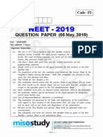 NEET Question Paper 2019 Code P2