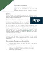 JOB DESCRIPTIONS OF RESTAURANT STAFF