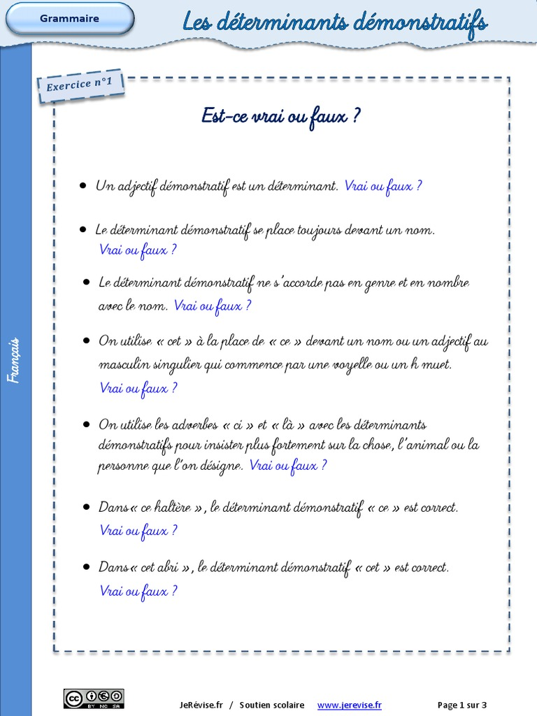 Determinants Demonstratifs Exercices 2 2 Pdf