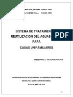 Sistema de Tratamiento y Reutilizacion de Aguas Grises Para Casas Unifamiliares