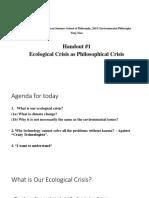 Xiao Handout 1 Ecological Crisis as Philosophical Crisis