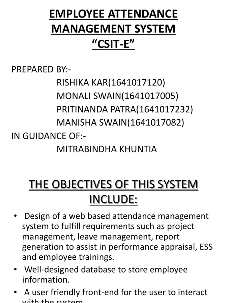 Employee Attendance Management System Java Server Pages Databases