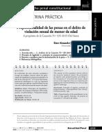 Eiser Alexander Jiménez Coronel - Proporcionalidad de Las Penas en El Delito de Violación Sexual de Menor de Edad. a Propósito de La Casación N.º 335-2015-Del Santa
