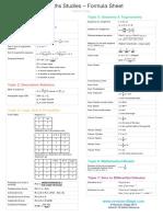 IB Maths Studies Formula Sheet 2019