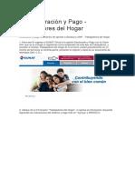 Declaración y Pago - Trabajadores Del Hogar