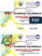 Academic Excellence Award Certificates Q1 SY19-20