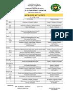 Matrix of Activities