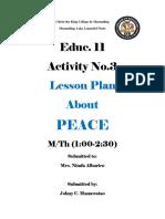 Lesson Plan about peace