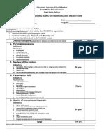 Oral Report Evaluation Rubric