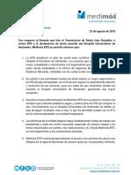 Comunicado de Prensa Medimás EPS Regional Santander