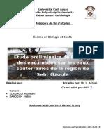 PFE Licence Biologie/ impact des eaux usées sur les eaux souterraines