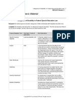 categories of disability in federal special education law
