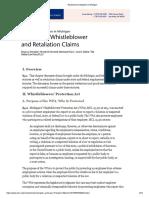 Employment Litigation in Michigan--Whistleblower Claims