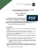 Edital de Mestrado 2020