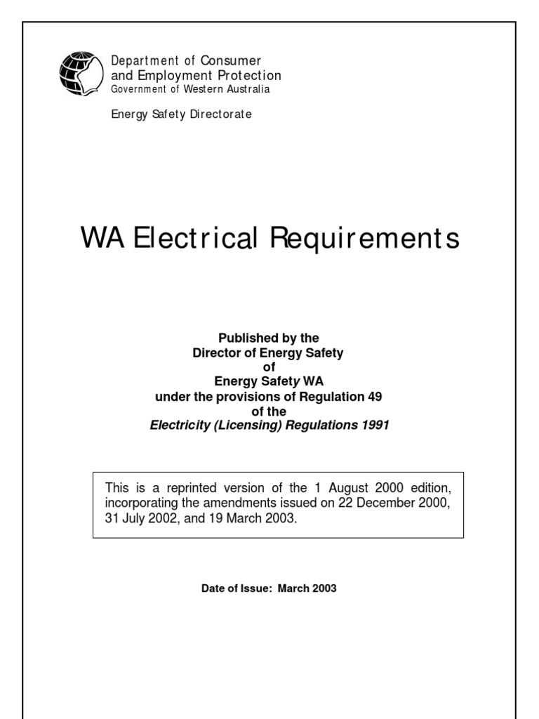 Wa electrical requirements dept consumer employment protection wa electrical requirements dept consumer employment protection mains electricity electrical substation fandeluxe Choice Image