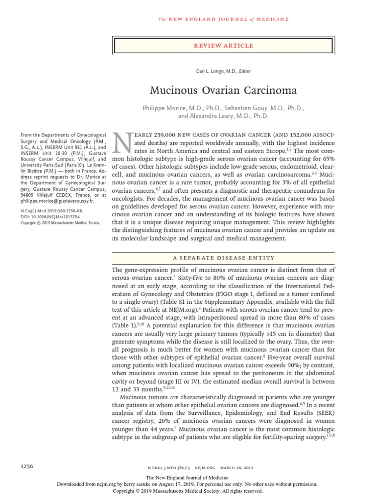Mucinous Ovarian Carcinoma Review Article Ovarian Cancer Carcinoma