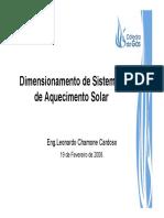 Dimensionamento Aquecimento Solar