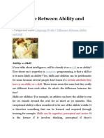 Difference Between Ability and Skill