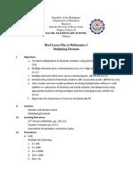 Lesson Plan Grade 5 Math-Demo Multiplying Decimals