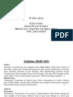 Unit I&II Gear Design