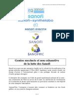 Genèse Succincte Et Non Exhaustive de La Lutte Des Sanofis Edition 2014