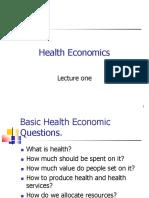 Health Economics Lecture One