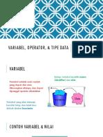 Variabel, Operator, & Tipe Data