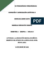 Actividad 8.La Educación Musical en México. Beneficio Del Estudio de La Música en El Nivel Básico Aev