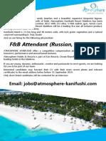 F&B Attendant (Russian, Chinese)