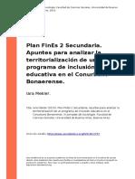 Iara Mekler (2015). Plan FinEs 2 Secundaria. Apuntes Para Analizar La Territorializacion de Un Programa de Inclusion Educativa en El Conu (..)