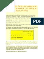 Balanceo de Ecuaciones Por Metodo de Redox