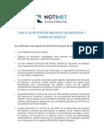 Tabla de Retencion de Industria y Comercio Bogota
