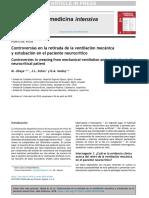 Controversias en La Retirada de La Ventilación Mecánica y Extubación en El Paciente Neurocrítico