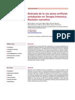 RetiradadelaviaaereaartificialextubacionenterapiaintensivaRevisionnarrativa