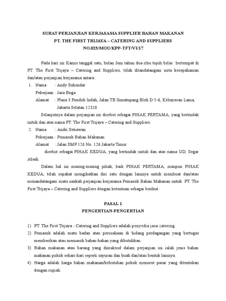 Contoh Surat Kontrak Kerjasama Catering Dengan Perusahaan Pdf