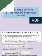 Expresiones Críticas para comprender el Inglés Técnico científico