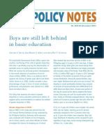 Boys Are Still Left Behind in Basic Education