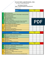 SHS Subject Checklist
