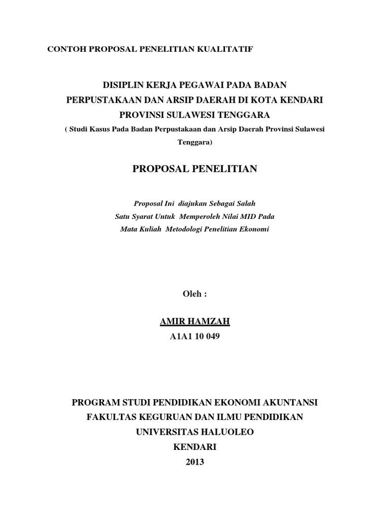 Contoh Proposal Penelitian Kualitatif Ekonomi Pdf